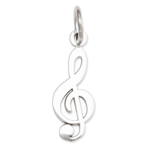 14kt White Gold 1/2in Treble Clef Charm