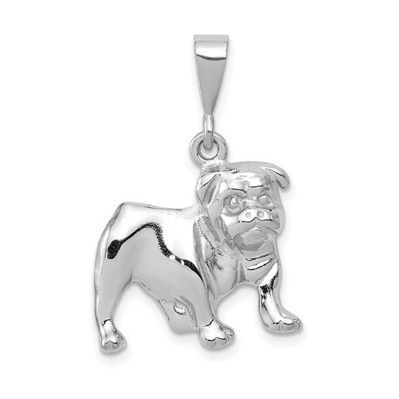 14kt White Gold 5/8in Bulldog Pendant