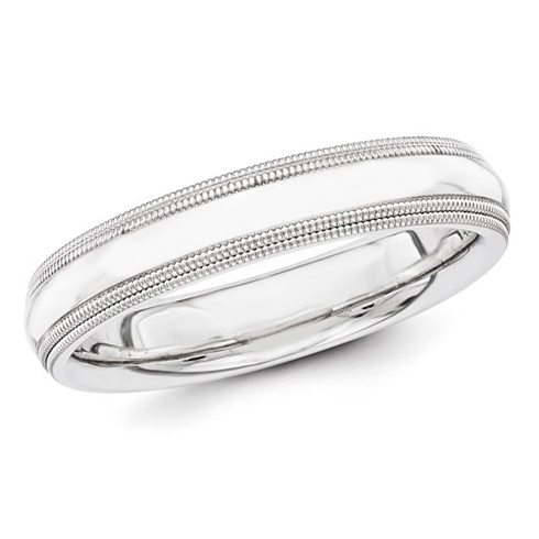 14kt White Gold 4mm Double Milgrain Wedding Band