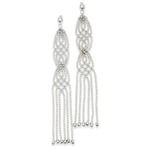 14kt White Gold 2 3/4in Multi Beaded Tassel Dangle Earrings