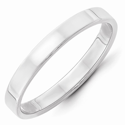 14kt White Gold 3mm Flat Wedding Band