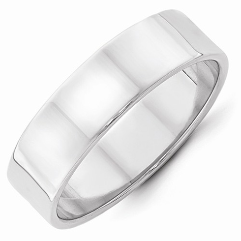 14kt White Gold 6mm Flat Wedding Band