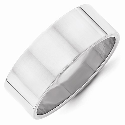 14kt White Gold 8mm Flat Wedding Band