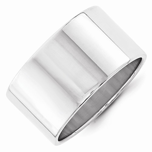14kt White Gold 12mm Flat Wedding Band