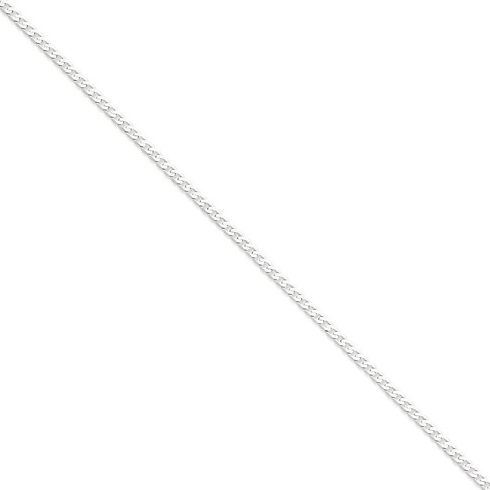 14kt White Gold 16in Flat Curb Chain 2.9mm
