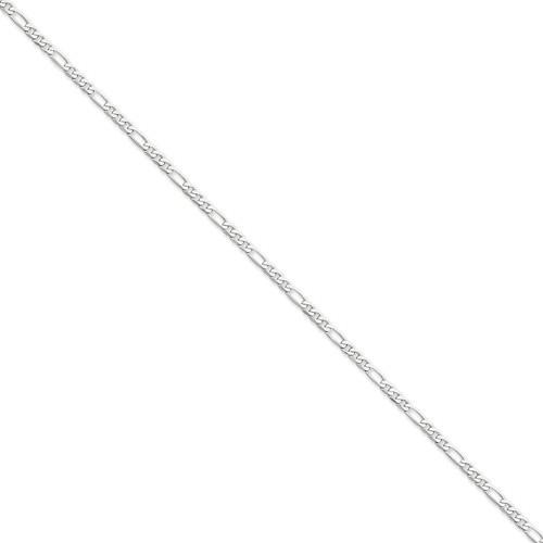 14kt White Gold 8in Flat Figaro Bracelet 3.0mm