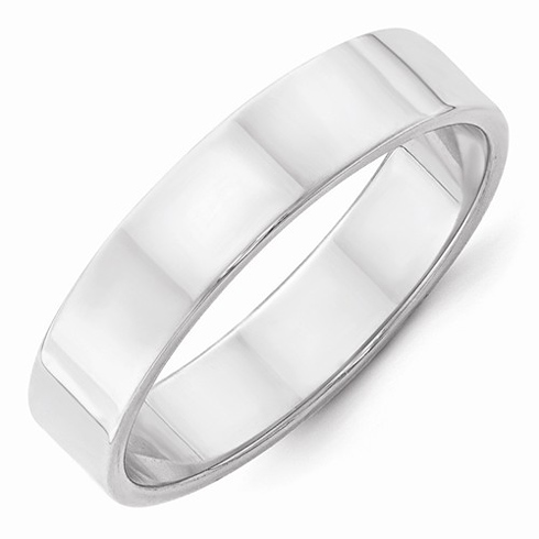 14kt White Gold 5mm Flat Wedding Band