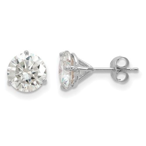 3 ct Moissanite 3-Prong Martini Stud Earrings 14k White Gold