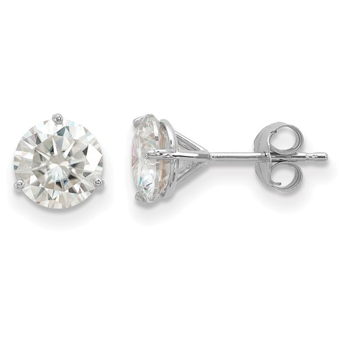 2 ct Moissanite 3-Prong Martini Stud Earrings 14k White Gold