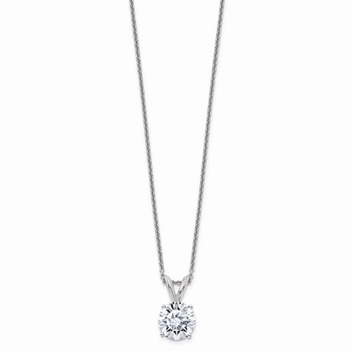 14k White Gold 2 ct Pure Light Moissanite Solitaire Necklace