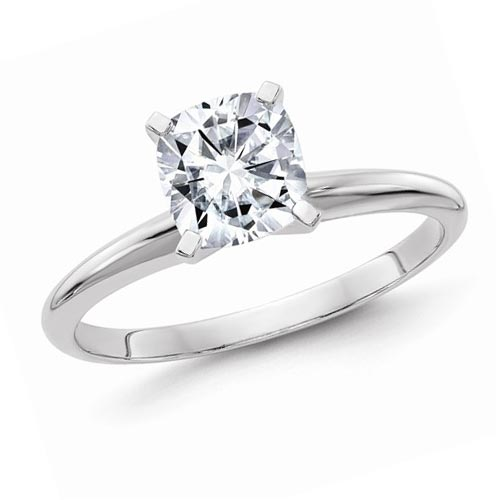 14k White Gold 1.6 ct Pure Light Moissanite Cushion Solitaire Ring