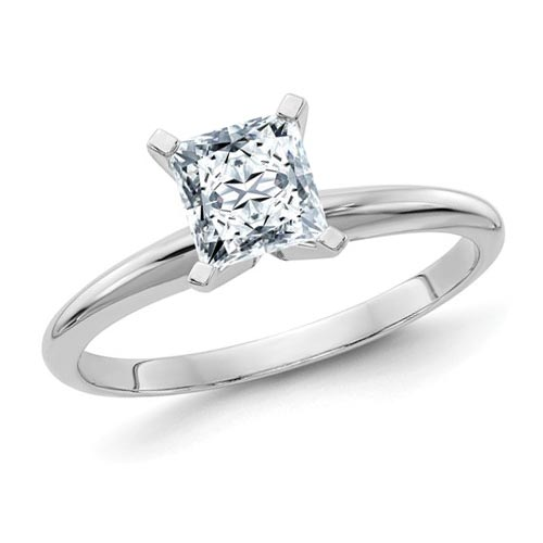 14k White Gold 1.7 ct Pure Light Moissanite Square Solitaire Ring