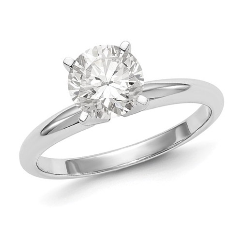 1 ct Pure Light Moissanite Solitaire Ring 4-Prong 14k White Gold