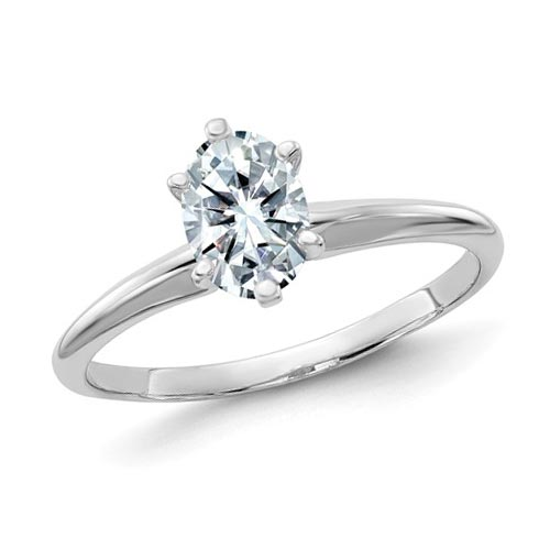14k White Gold 0.9 ct Pure Light Moissanite Oval Solitaire Ring