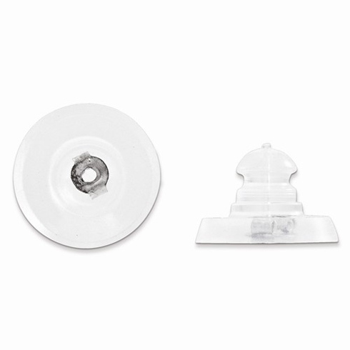 14kt White Gold Silicone Earring Back Disk 1 Pair