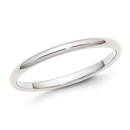 14kt White Gold 2mm Polished Wedding Band