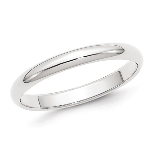 14kt White Gold 3mm Polished Wedding Band