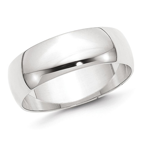 14kt White Gold 7mm Polished Wedding Band