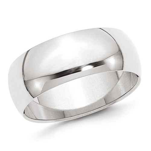 14kt White Gold 8mm Polished Wedding Band