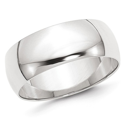 14kt White Gold 8mm Half-Round Featherweight Wedding Band