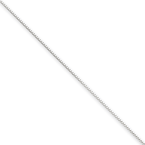 14kt White Gold 16in Box Link Chain .5mm