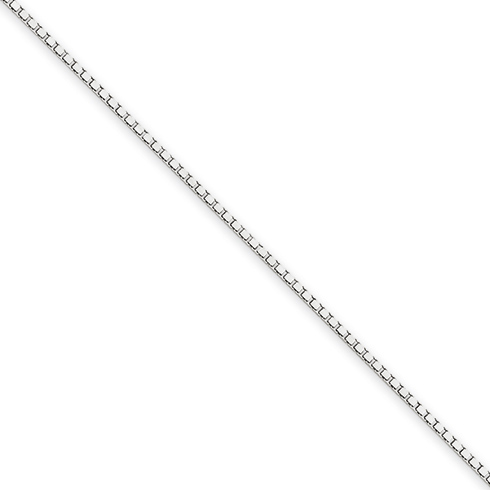 14kt White Gold 24in Box Link Chain 1mm