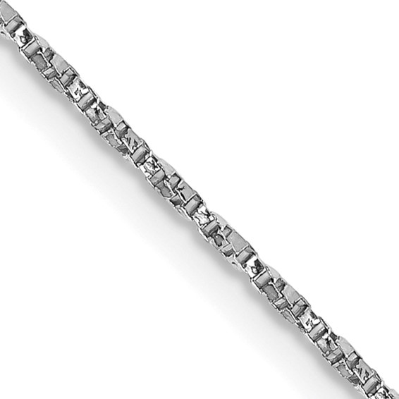 14kt White Gold 18in Twisted Box Link Chain 1mm