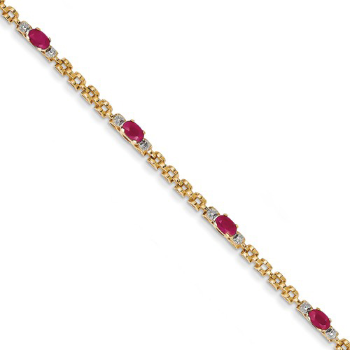 14kt Yellow Gold 1.2 ct tw Ruby Bracelet with Diamond Accents