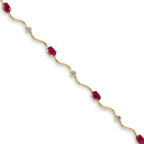 14kt Yellow Gold 1 ct tw Ruby Wavy Link Bracelet with Diamond Accents
