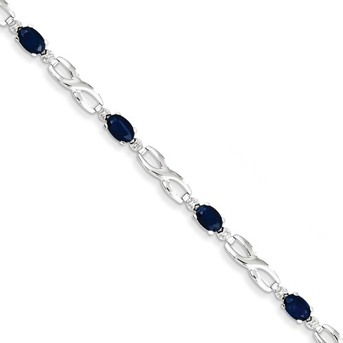 14kt White Gold 3.15 ct tw Sapphire Bracelet with Diamond Accents
