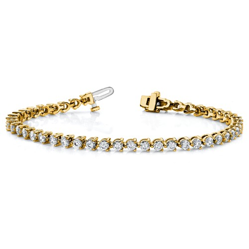 14k Yellow Gold 2.4 ct Lab Grown Diamond Tennis Bracelet Martini Style