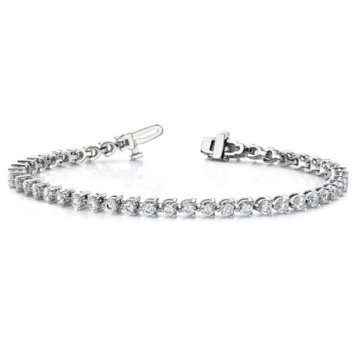 14k White Gold 4.7 ct Lab Grown Diamond Tennis Bracelet Martini Style