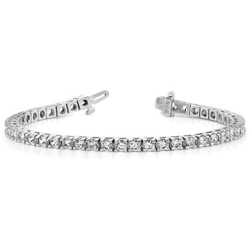 14k White Gold 2.8 ct Lab Grown Diamond Tennis Bracelet