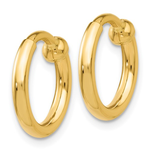14kt Yellow Gold 1/2in Round Non-Pierced Hoop Earrings 2mm