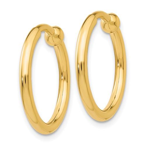 14kt Yellow Gold 3/4in Round Non-Pierced Hoop Earrings 2mm