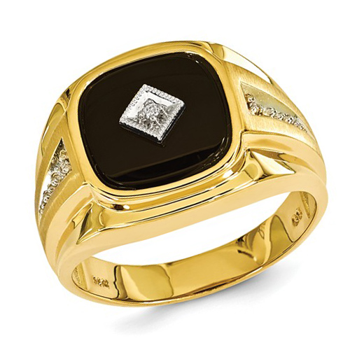 14kt Yellow Gold Men's Onyx Ring with Diamond Accent