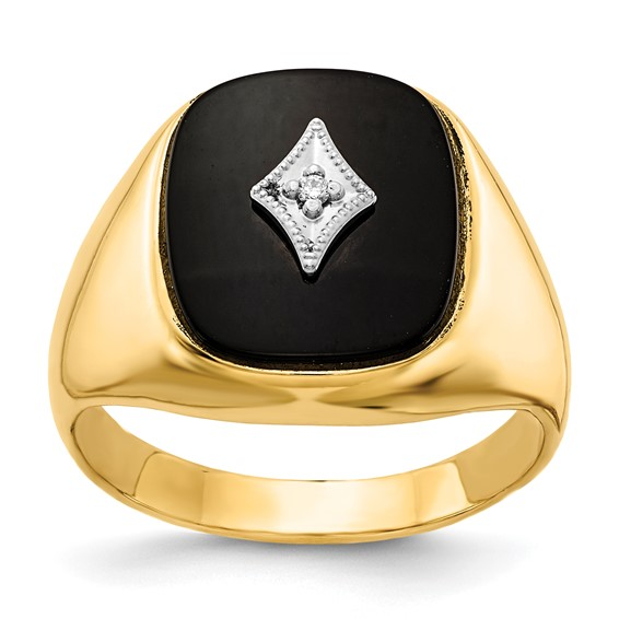 14kt Yellow Gold Men's Tapered Onyx Ring with Diamond Accent