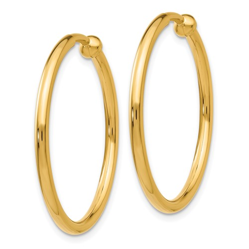 14kt Yellow Gold 1in Round Non-Pierced Hoop Earrings 2mm