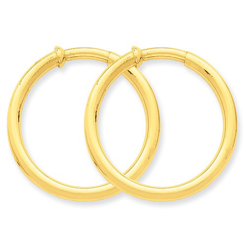 14kt Yellow Gold 1 1/4in Round Non-Pierced Hoop Earrings 3mm