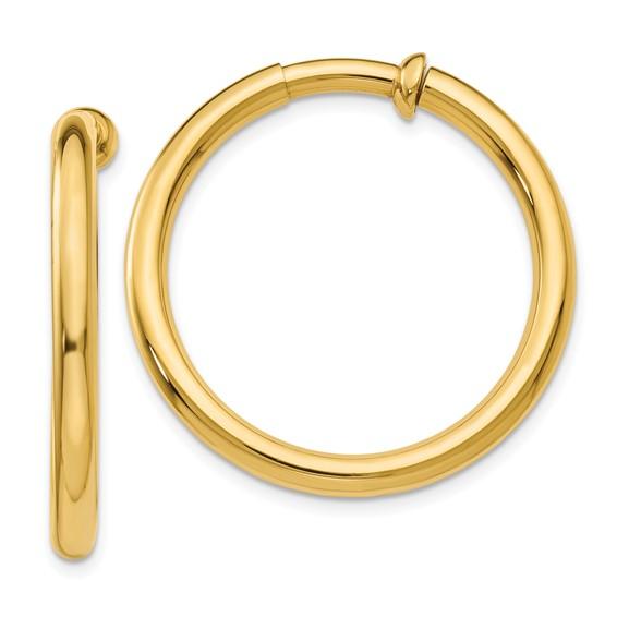 14kt Yellow Gold 1 1/4in Round Non-Pierced Hoop Earrings 3mm