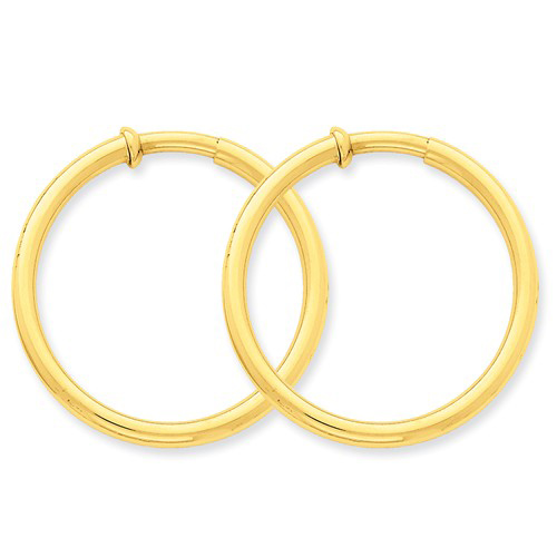 14kt Yellow Gold 1 3/8in Round Non-Pierced Hoop Earrings 3mm