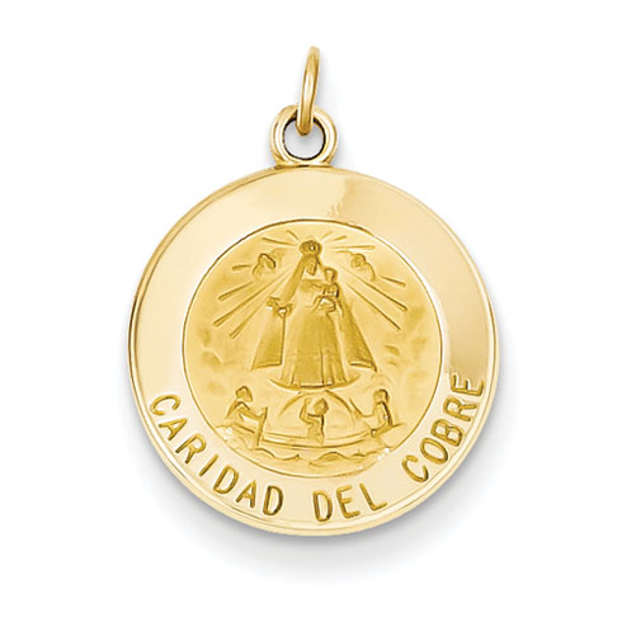 14kt Yellow Gold 9/16in Caridad Del Cobre Medal