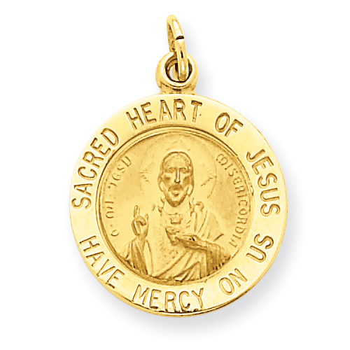 14kt Gold 9/16in Sacred Heart of Jesus Charm