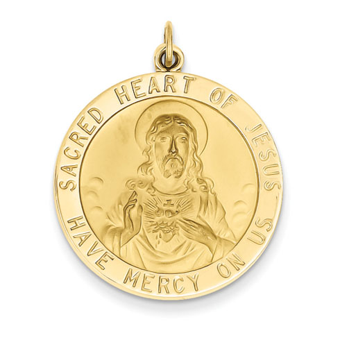 14k Yellow Gold Sacred Heart of Jesus Medal Pendant 1in