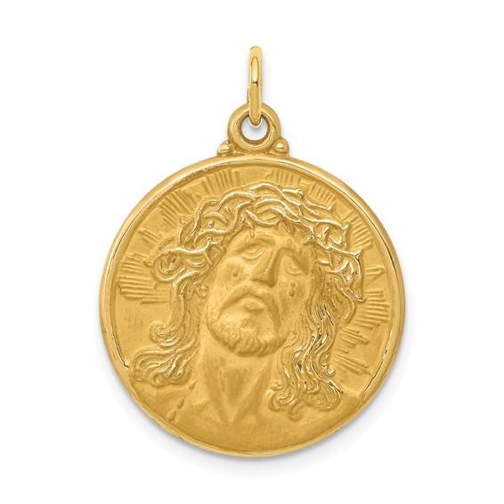 14kt 13/16in Jesus Medal Pendant