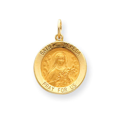 14k 11/16in Saint Theresa Medal Charm