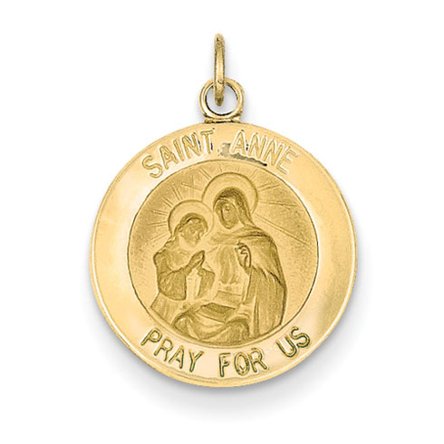 14k 9/16in Saint Anne Medal Charm