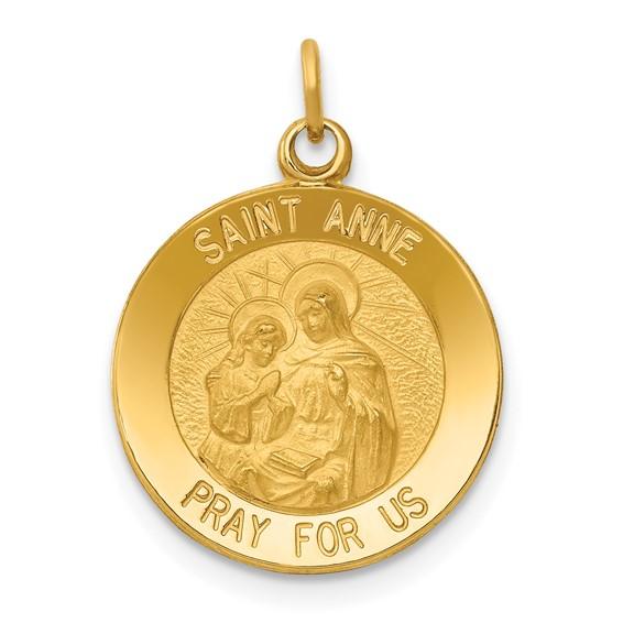 14k 9/16in Saint Anne Medal Charm