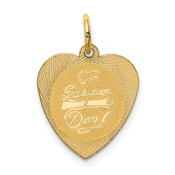 14kt Yellow Gold 5/8in On Graduation Day Heart Charm