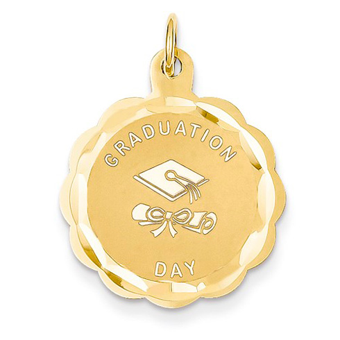14kt Yellow Gold 3/4in Scalloped Graduation Day Charm